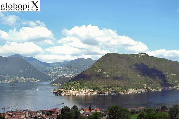 Lago di Iseo - Panorama of the lake with Monte Isola