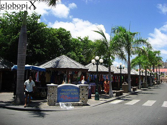 Saint Martin - Market Place at Philipsburg