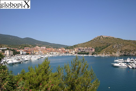 Argentario - Panorama of the harbour and Forte Stella