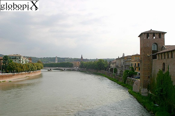 Verona - Panorama of the Adige river from Ponte Scaligero.